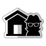 House insurance with thief isolated icon Stock Photography