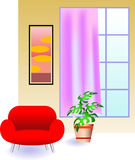 House interior. Illustrated colourful image