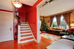 House interior on Christmas eve royalty free stock photography