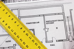 House interior design. House plans and folding rule, concept of home architecture Stock Photos