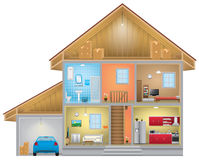 House interior. Detailed house interior with garage, eps 10 Royalty Free Stock Photo