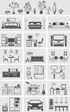 House interior elements silhouette. Vector illustration Royalty Free Stock Photos