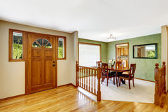Free House Interior. Entance Hallway With Balustrade And Green Dining Stock Images - 45069344