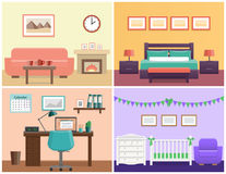 House interior in flat style. Vector graphic. House interior – living room, bedroom, office place, baby nursery. Flat vector design with furniture including Stock Photos