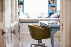 House Interior With Home Office and Laptop Stock Photo