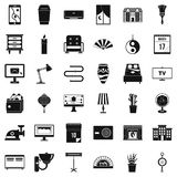 House interior icons set, simple style. House interior icons set. Simple style of 36 house interior vector icons for web isolated on white background Stock Photo
