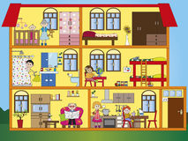 House interior. Illustration of interior house with family Stock Images