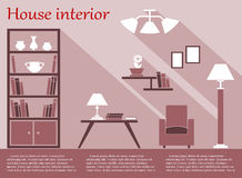 House interior infographic in flat style with Stock Image