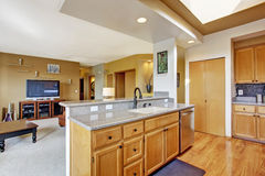 House interior. Kitchen area and living room Royalty Free Stock Image