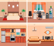 House interior living room, domestic workplace, bedroom and kitchen. Home design including furniture and electonics. Stock Image