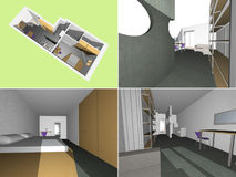 House interior model. Technical drawing 3D model of house interior Stock Photography