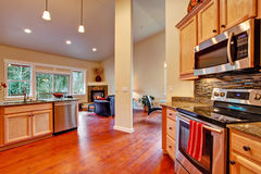 House interior open floor plan. Kitchen area Royalty Free Stock Photography