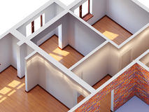 House interior planning. (aerial view Stock Photography