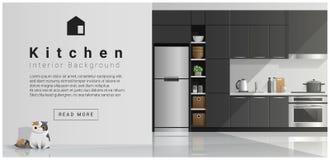 House interior scene , Modern kitchen background stock illustration