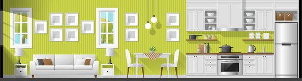 House interior section panorama background including living room , dining room and kitchen. Vector , illustration Stock Photo