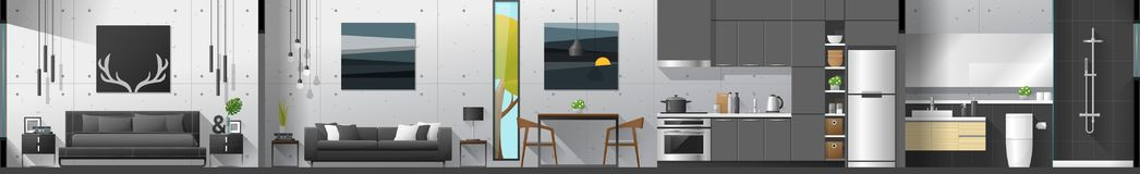 House interior section panorama including bedroom , living room , dining room , kitchen and bathroom. Vector , illustration stock illustration