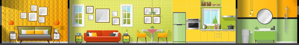 House interior section panorama including bedroom , living room , dining room , kitchen and bathroom. Vector , illustration Stock Images