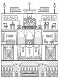 House interior silhouette in oriental style. Vector illustration Stock Photo