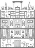 House interior silhouette. Vector illustration. House interior in antique style silhouette. Vector illustration Stock Photo