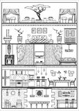 House interior silhouette. Vector illustration. House interior in ethnic style silhouette. Vector illustration Stock Image