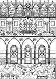 House interior silhouette. Vector illustration. House interior in gothic style silhouette. Vector illustration Royalty Free Stock Photos