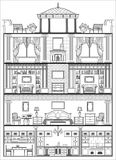 House interior silhouette. Vector illustration. House luxury interior monochrome silhouette. Vector illustration Stock Photo