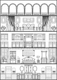 House interior silhouette. Vector illustration. House luxury interior monochrome silhouette. Vector illustration Stock Photos