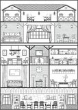 House interior silhouette. Vector illustration. Monochrome country house interior silhouette. Vector illustration Royalty Free Stock Photography