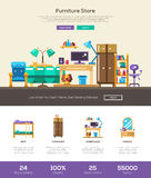 House interior store website header banner with webdesign elements. House interior and domestic furniture online store web site one page website template layout Royalty Free Stock Photos