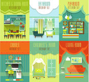 House Interiors Vector Set with Furniture Royalty Free Stock Image