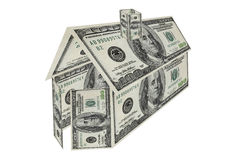 House and investment made of an one hundred dollar Royalty Free Stock Photos