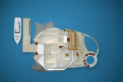 House island in the sea top view. 3d rendering Royalty Free Stock Photo