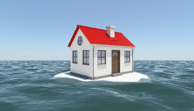 House on island in sea Royalty Free Stock Images