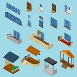House Isometric Constructor Set. Isometric house constructor elements collection with isolated images of glossy windows doors balcony and stoop vector Stock Photos