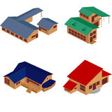 House isometric icons. Isometric perspective view of houses over white background, clip art icons. No mesh or gradients used Stock Images