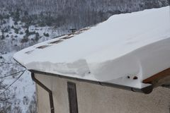 House in Italy with snowy roof Stock Images