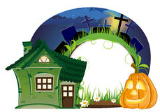House and Jack o lantern Royalty Free Stock Image
