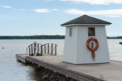 House on the jetty at the lake Stock Image