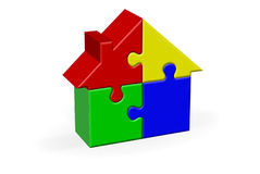 House Jigsaw Puzzle. House Built Out of Jigsaw Like Blocks. 3d Rendered Illustration Royalty Free Stock Photos