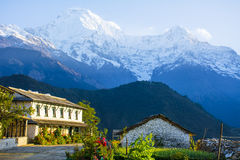 House and Jokul View from Ghandruk royalty free stock photos