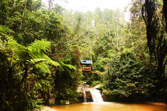 House in the jungle above a waterfall. A house in the jungle royalty free stock photography