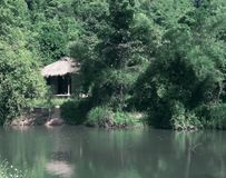 A house in the jungles of Vietnam. Toning. Stock Images