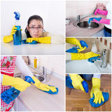 House keeping collage. Collage of unhappy smiling housewife cleaning house Stock Photos