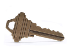 House key. High resolution closeup of house key isolated on white Stock Images