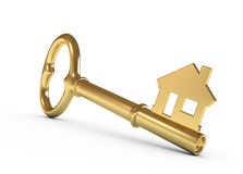 House key. Gold house key isolated on white. 3d illustration Stock Photos
