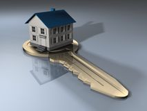House on a key. A house on a key - 3d render Royalty Free Stock Image