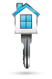 House with key. Illustration of house with key on white background Stock Photos