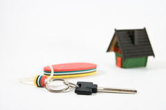 House key. Key with key ring and model of house Royalty Free Stock Images