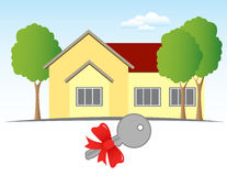 House and Key. A present - a house and a key with a bow Stock Image
