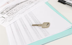 House key on an amortization schedule Stock Photo